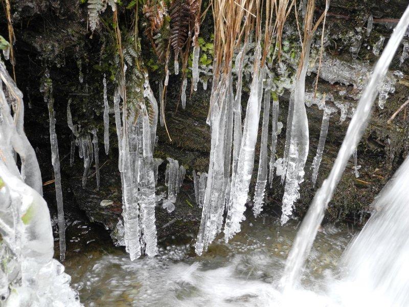 Eiszapfen im Bach